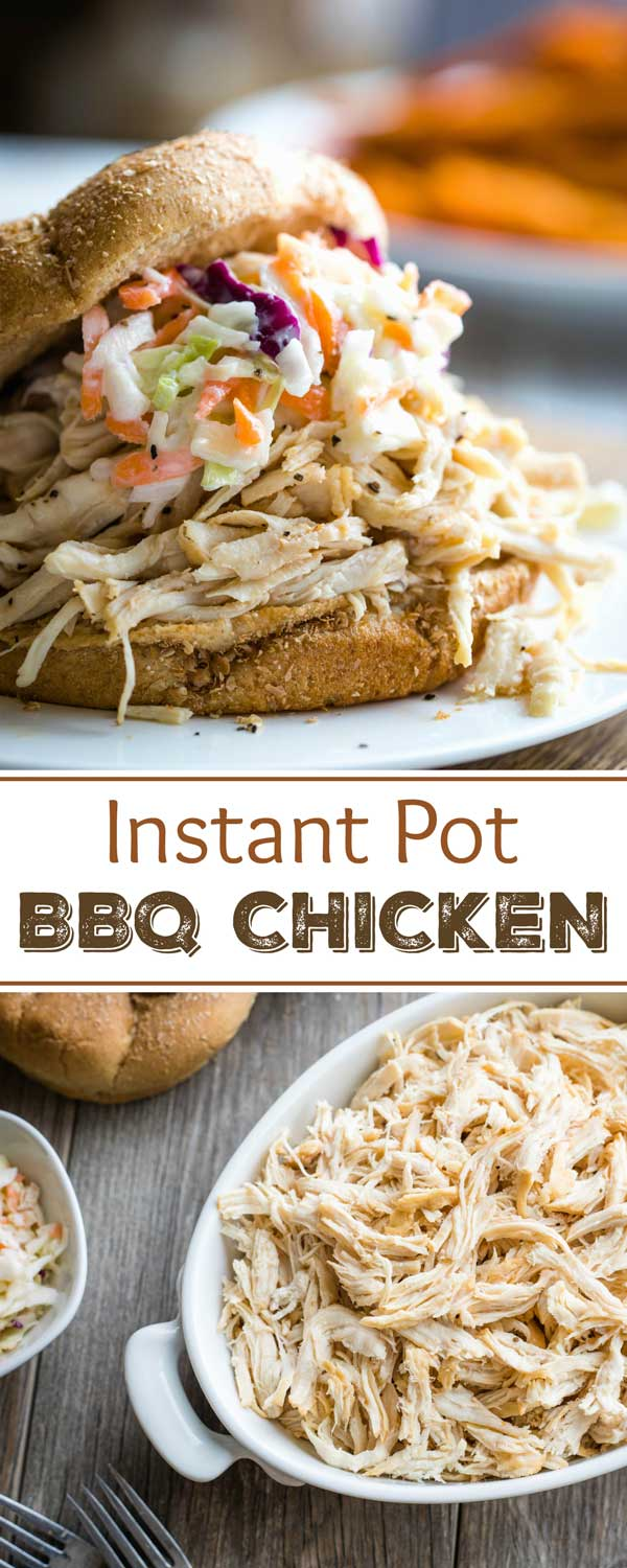 Just 5 ingredients and 5 minutes of prep! These crazy-delicious, super-EASY Carolina-Style Instant Pot Shredded BBQ Chicken Sandwiches are so simple in your pressure cooker! Tender shredded chicken is accented with a bold, savory sauce, piled high on pillowy, soft buns! A true reader favorite – try it and see why! | Instant pot recipes easy | instant pot chicken recipes | pressure cooker recipes | pressure cooker chicken | chicken recipes | shredded chicken recipes | www.TwoHealthyKitchens.com