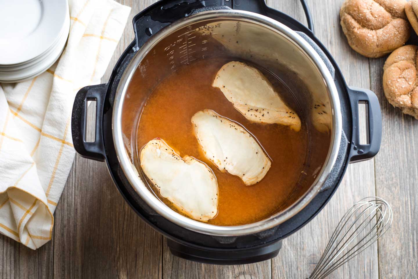 Step 2: chicken breasts are cooked in the BBQ in the Instant Pot