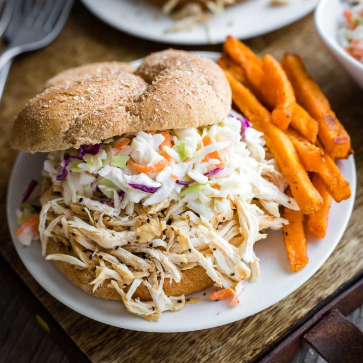Carolina-Style Instant Pot Shredded BBQ Chicken Sandwiches