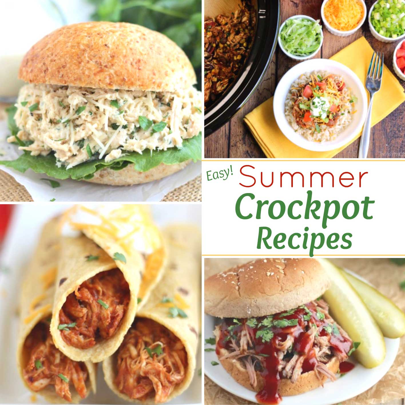"Square collage of crock pot recipe photos, with the text overlay ""Easy Summer Crockpot Recipes"