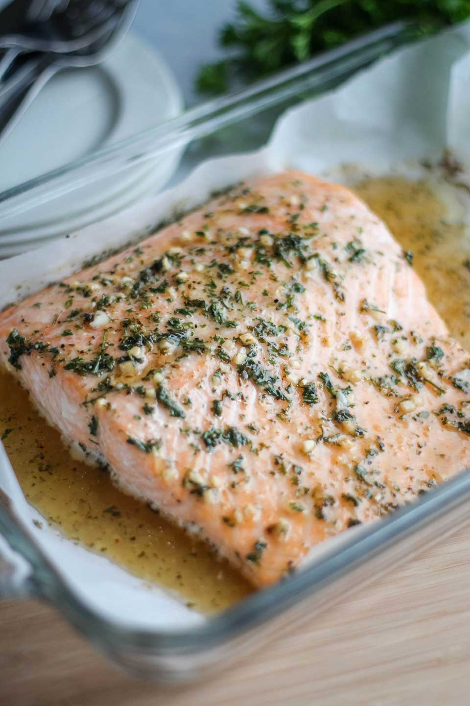 baking pan with freshly baked Easy Honey-Glazed Salmon