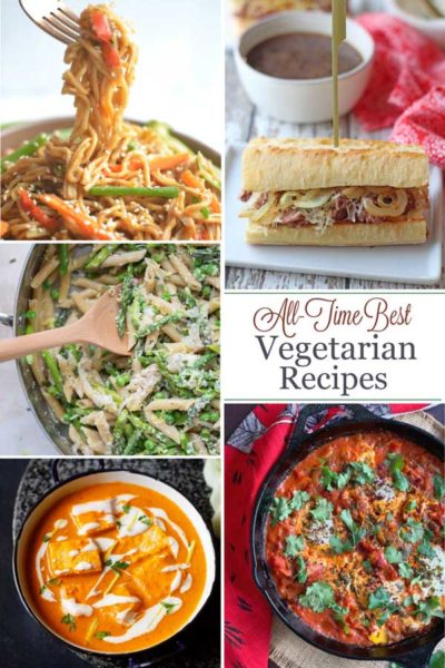 "Pinnable collage of 5 of the recipe photos, with text overlay reading ""All-Time Best Vegetarian Recipes""."