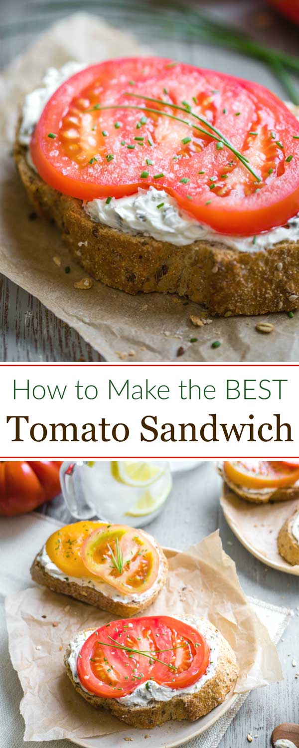 "collage of two sandwich photos with the text "" How to Make the BEST Tomato Sandwich"""
