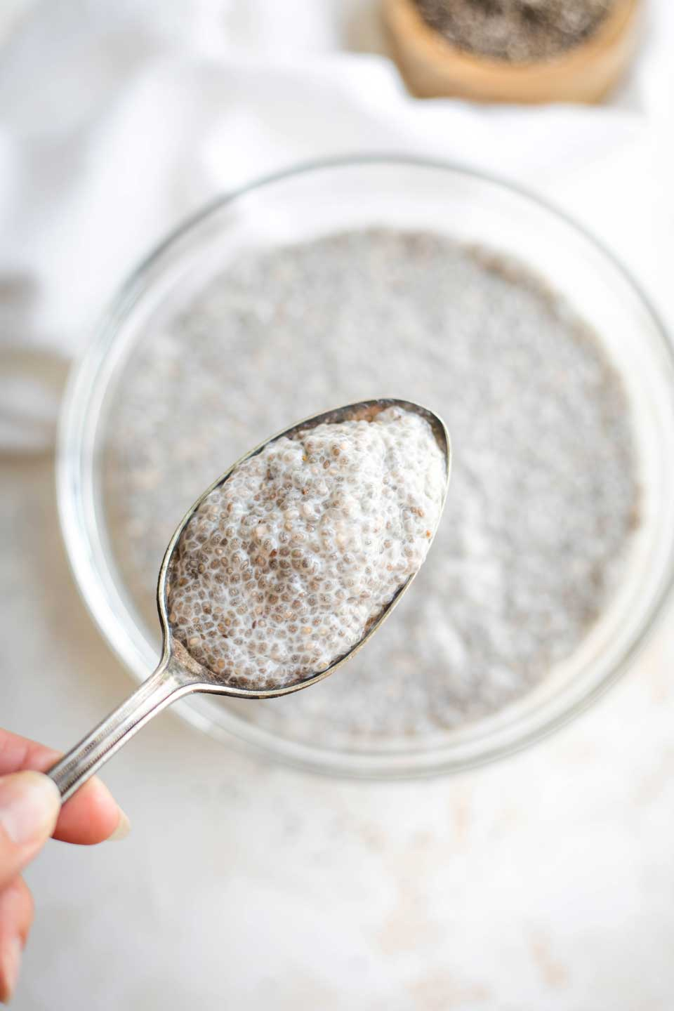 Closeup of spoonful of Chia Pudding, with serving bowl visible unfocused in background