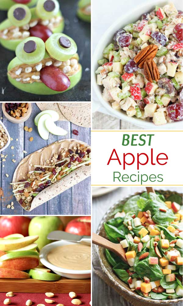 "photo collage of 5 easy, healthy apple recipes with the text overlay ""BEST Apple Recipes"""