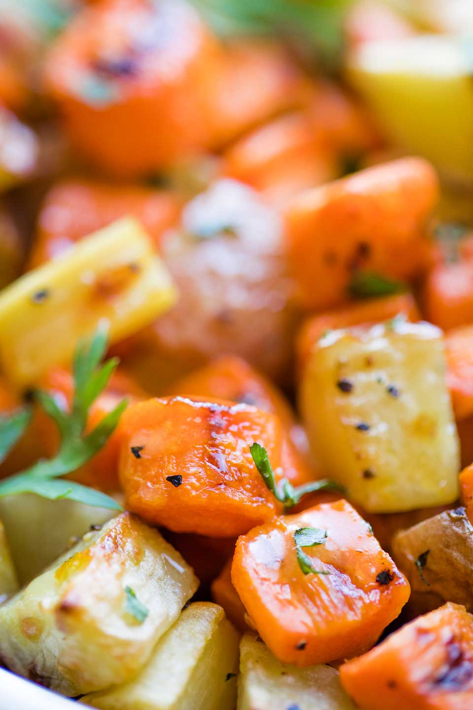super closeup of diced, roasted vegetables in finished recipe, so you can see the roasting marks