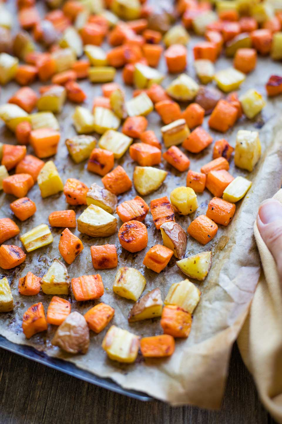 Roasted Root Vegetables fresh from the oven, still on baking sheet