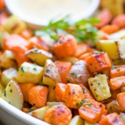 Roasted Root Vegetables with Honey-Dijon Drizzle