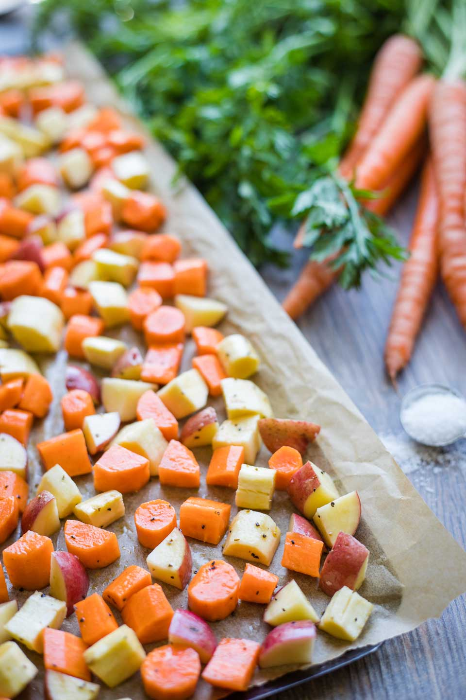 Vegetables on baking sheet, ready for the oven - spread out so they roast well