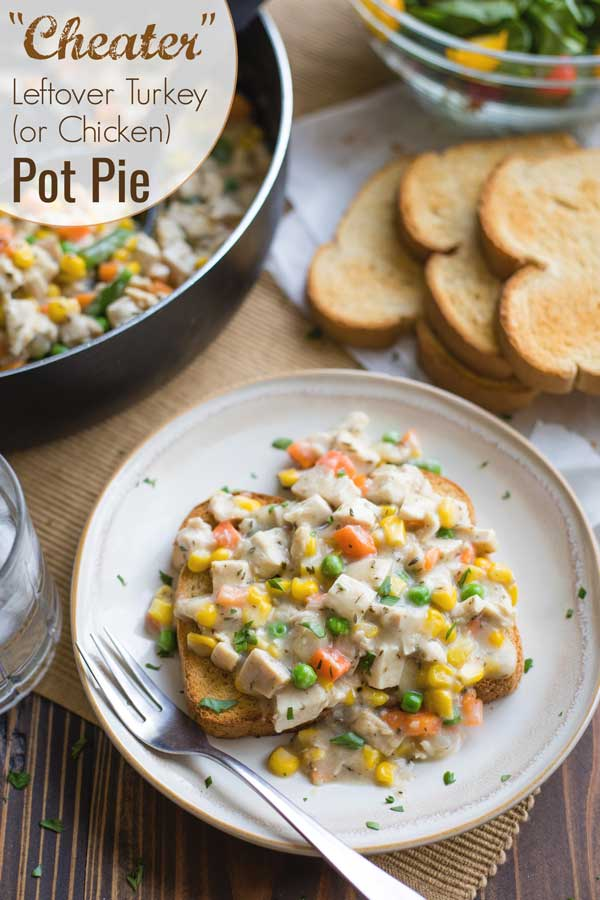 "one ""pot pie"" on a dinner plate, with text overlay "" 'Cheater' Leftover Turkey (or Chicken) Pot Pie"""