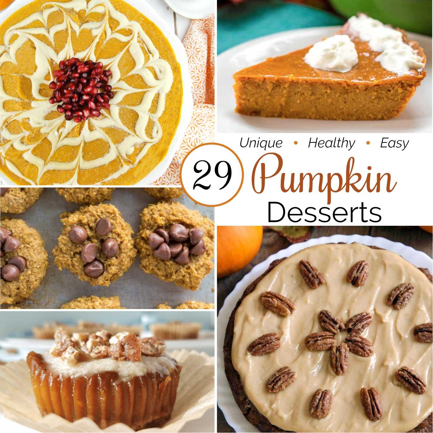 square collage of 5 pumpkin dessert recipe photos