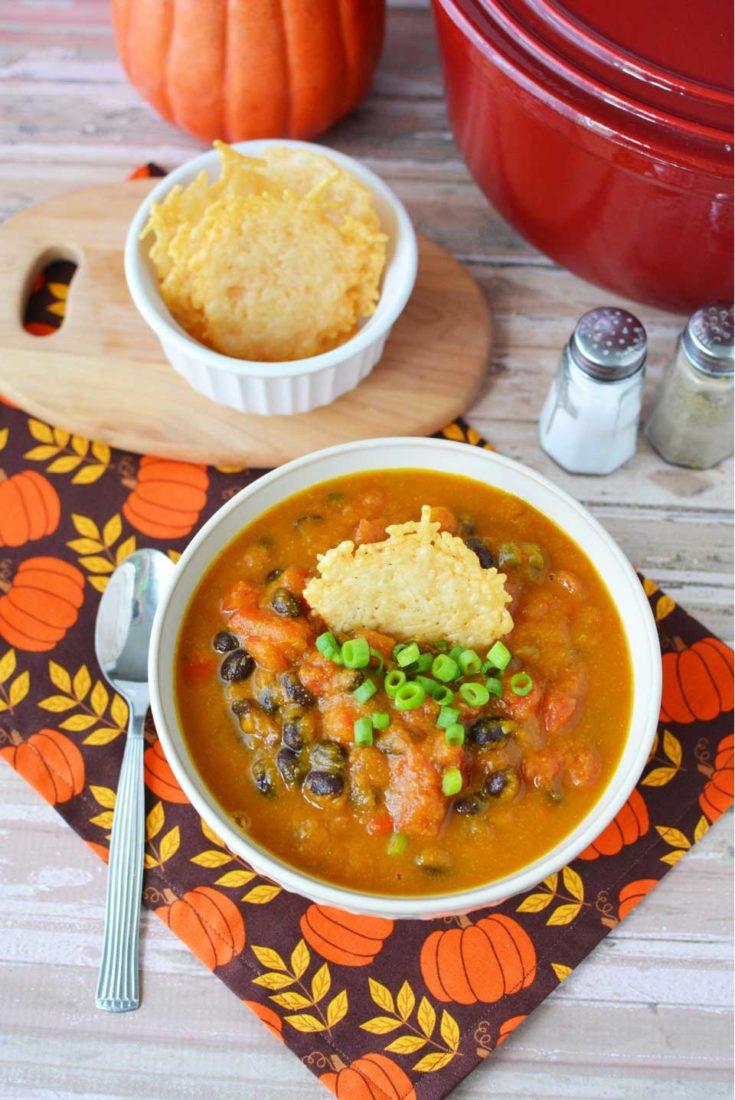 Easy Pumpkin Black Bean Soup with Parmesean Cheese Crackers