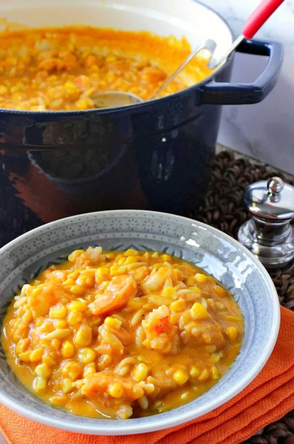 Pumpkin Corn Chowder with Shrimp