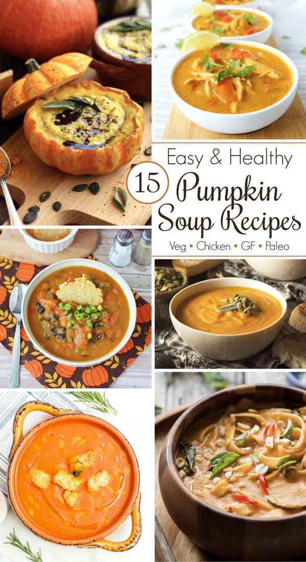 collage of six of the pumpkin soups featured in this post