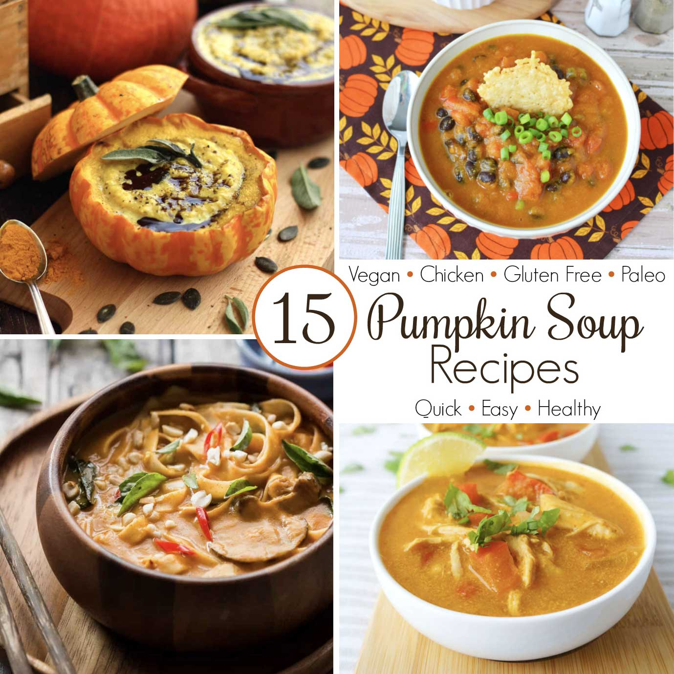 collage of four pumpkin soup recipes