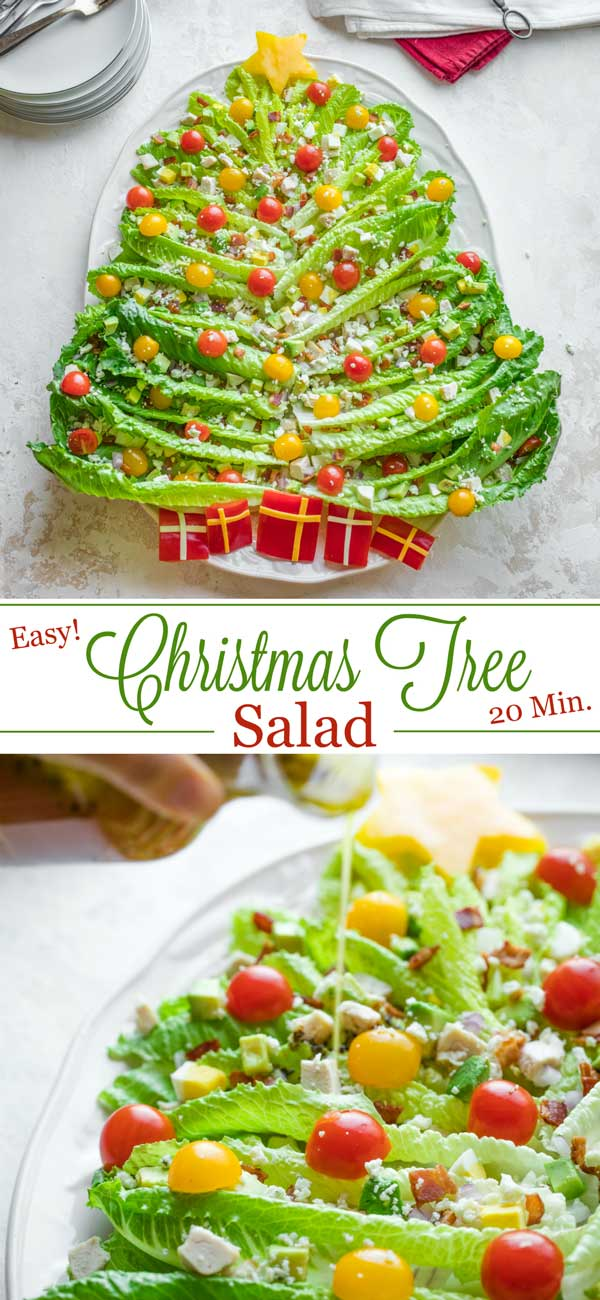 collage of two photos - one overhead of the completed Holiday Salad, and another closeup of the dressing being poured on