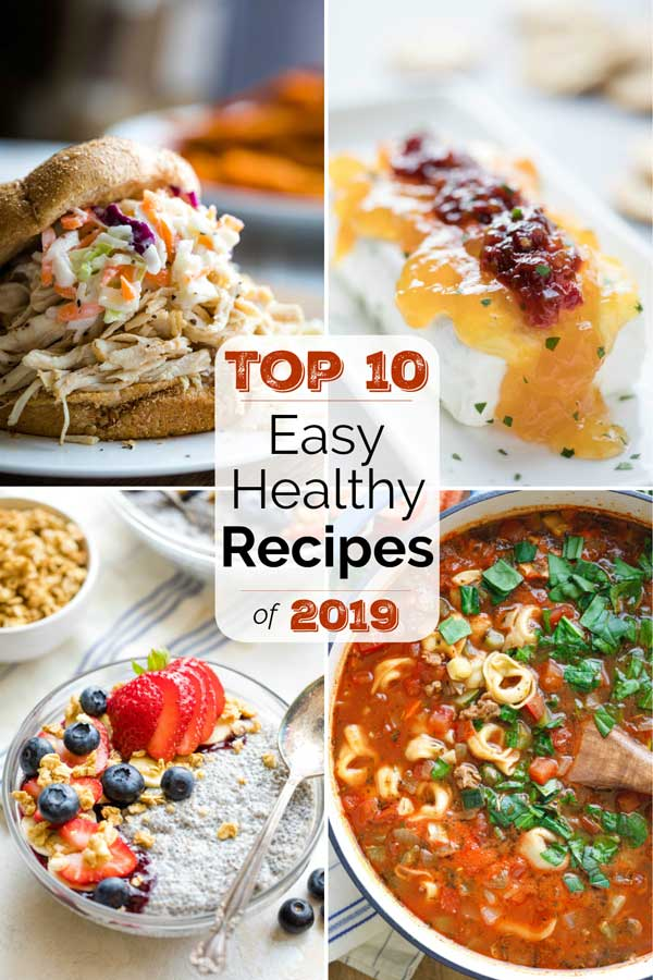 collage of 4 best recipe photos - a sandwich, an appetizer dip, a soup , and a chia pudding
