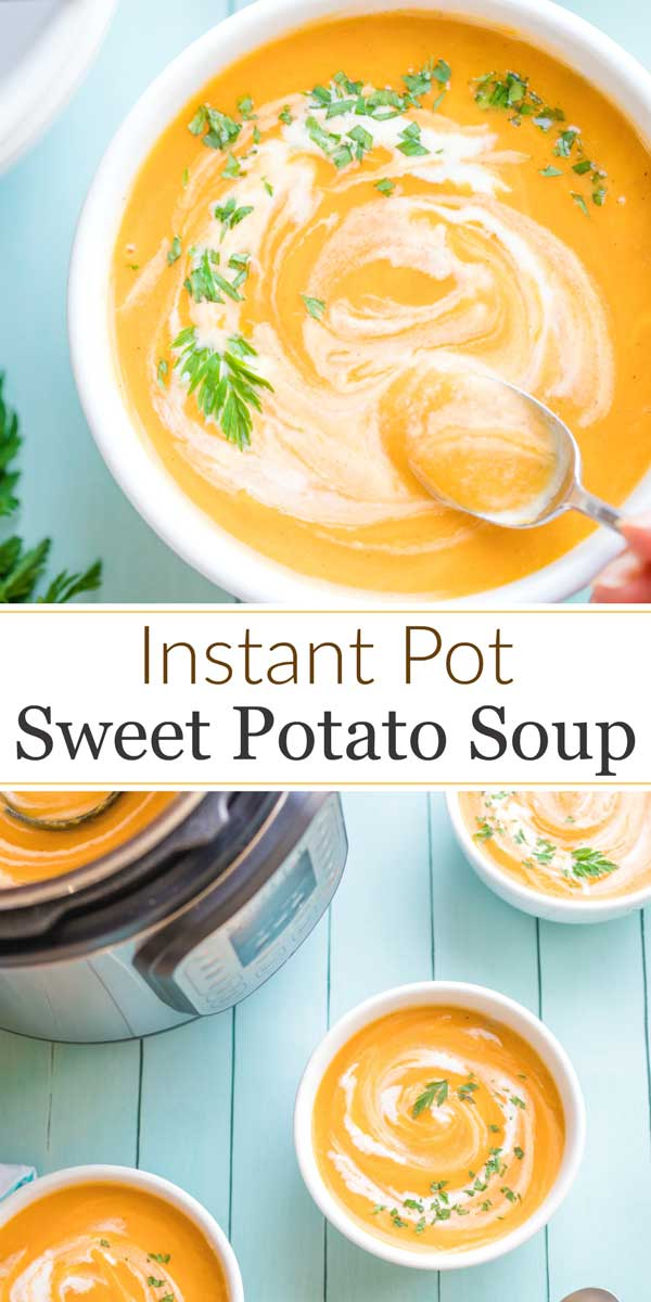 collage of two photos - one an overhead with a spoon dipping into soup, and the other of three bowls of soup near the instant pot