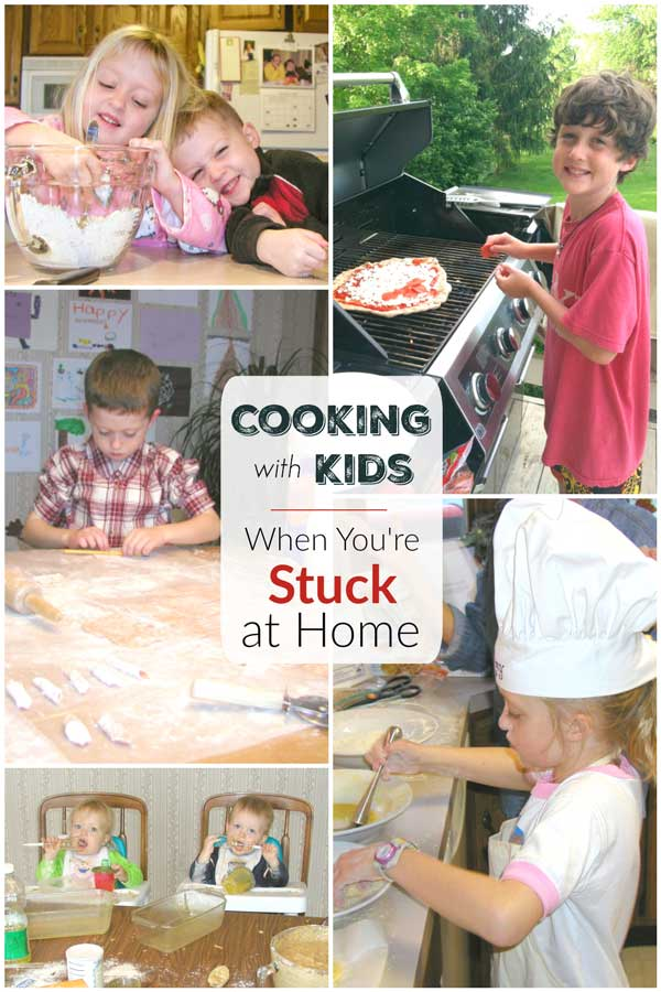 "collage of 5 photos of Amy and Ty cooking when they were younger - making pasta, grilling pizza, mixing and baking - with text overlay ""Cooking with Kids"""