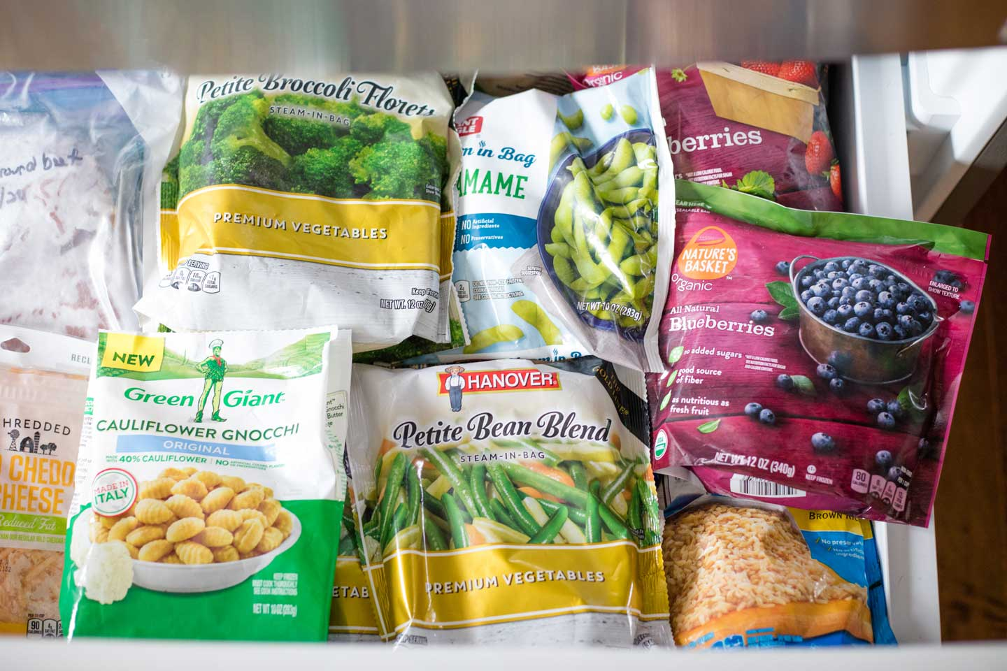 freezer items like frozen blueberries, broccoli, beans, edamame and brown rice