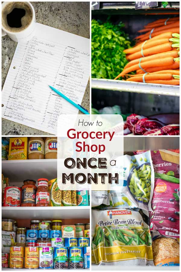 collage of 4 photos showing an organized grocery list, produce at the store, an organized pantry, and a well-filled freezer