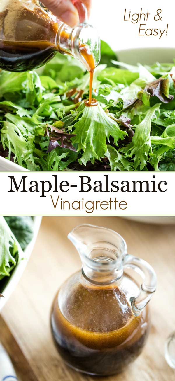 collage of two photos, with text overlay of the recipe title, showing this balsamic vinaigrette in a cruet and also being poured over salad