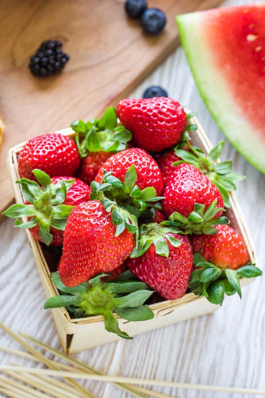 pint basket full of fresh strawberries
