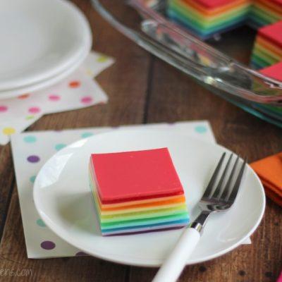 Layered Rainbow Jell-O Salad