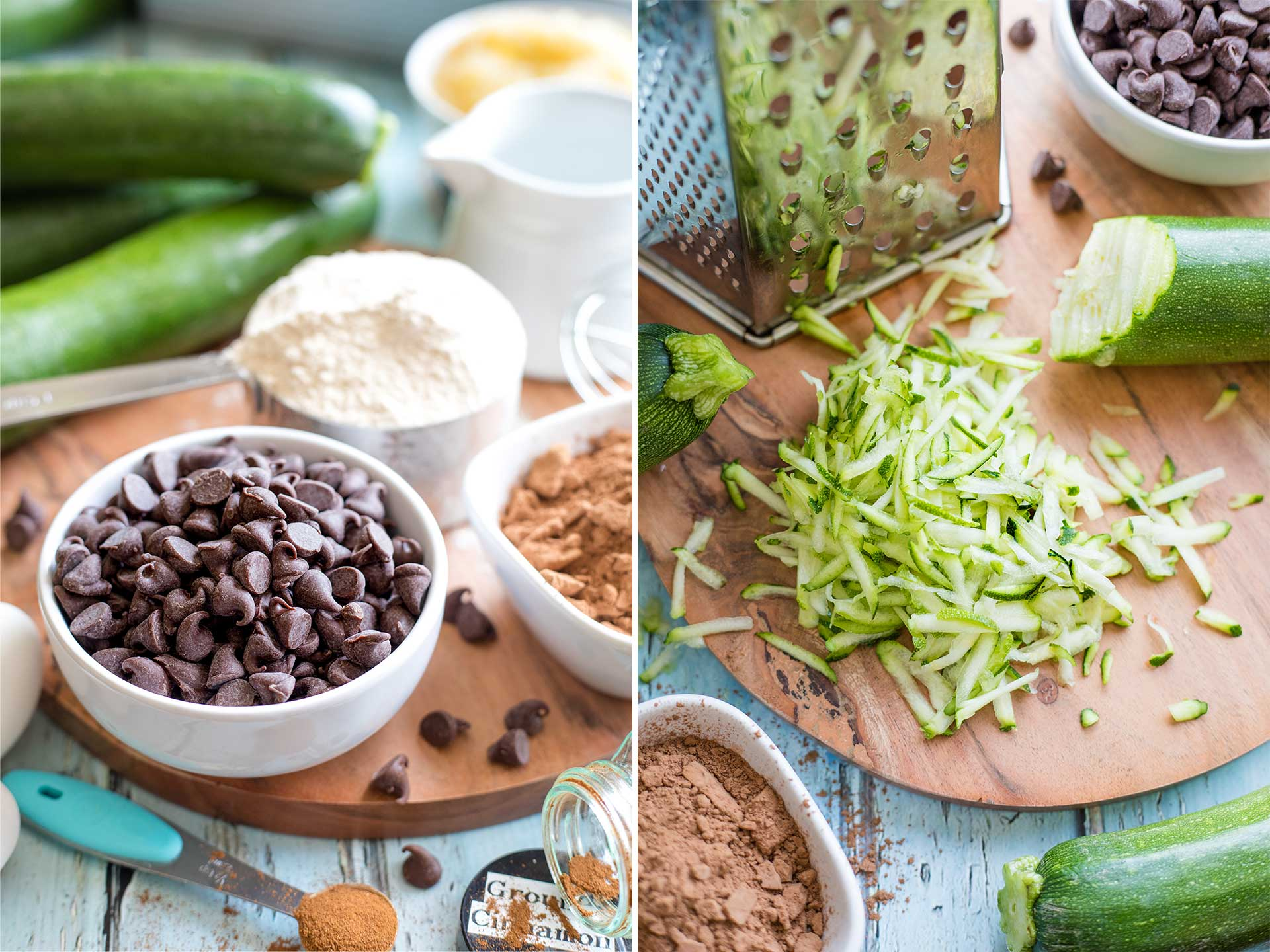 collage of two side-by-side photos, one showing ingredients for the zucchini cake, and the other specifically showing the zucchini being grated with a box grater