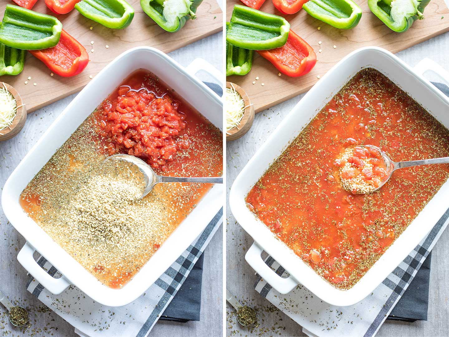 Collage of two side-by-side method photos showing how to stir the quinoa with the broth, tomatoes and spices, directly in the baking pan.