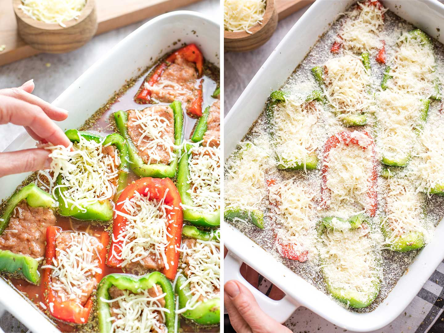 Collage of two method photos showing how to sprinkle some cheese on just the stuffed peppers, and then sprinkle parmesan over the entire casserole.