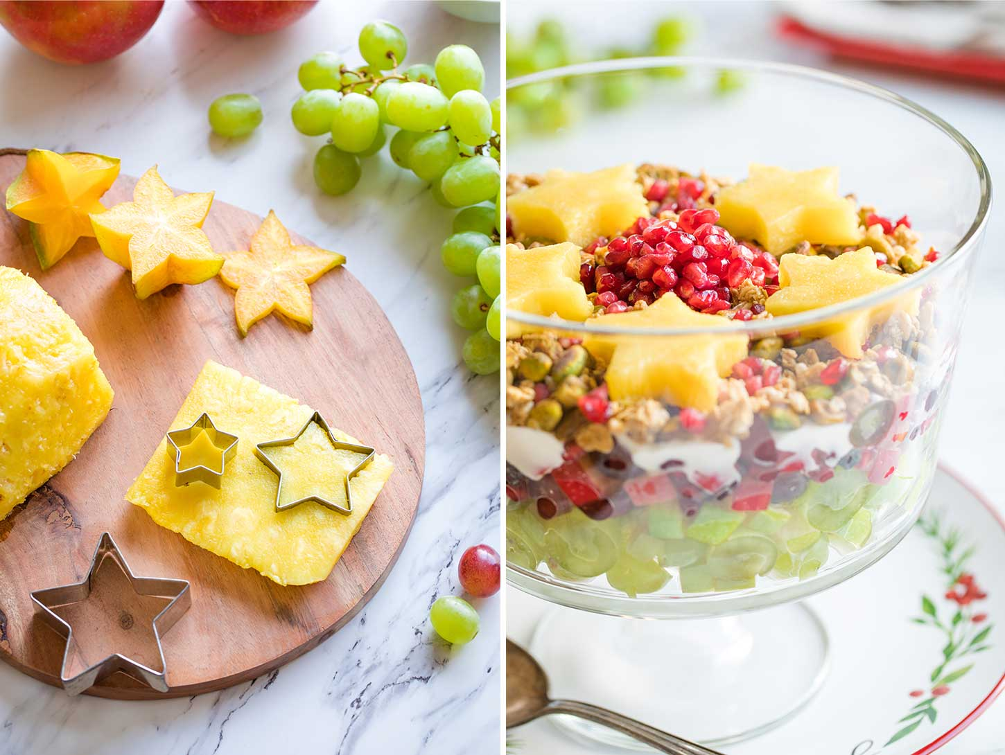 Collage of two photos, the first showing two ways of making the stars for the top of the fruit salad, and the second showing how the finished salad looks with pineapple stars.