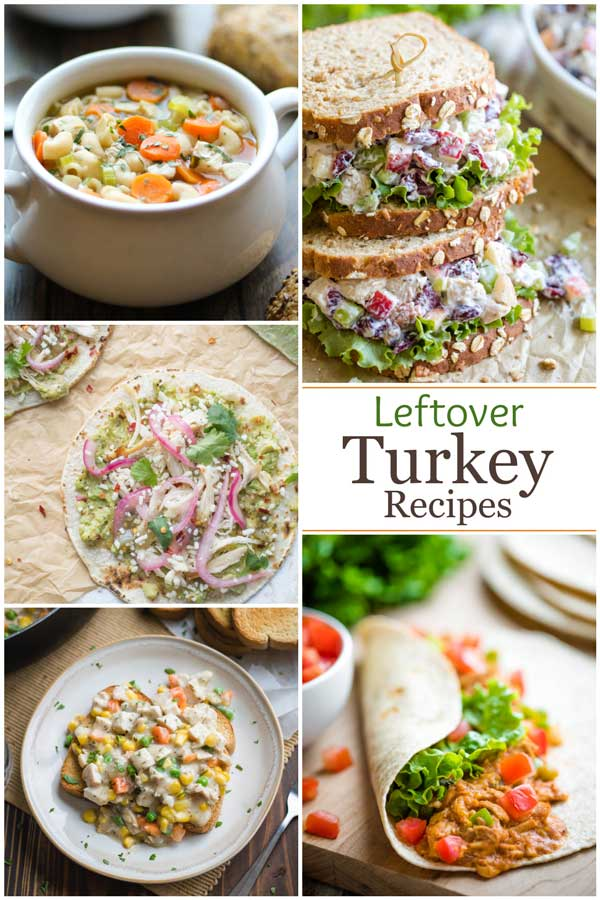 "Pinnable collage of five different recipe photos, with the text ""Leftover Turkey Recipes""."