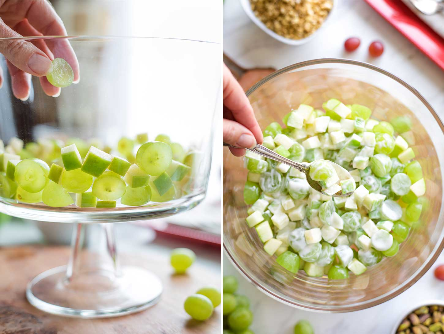Collage of two photos (one from the side and one overhead) showing how to make the salad's green layer.