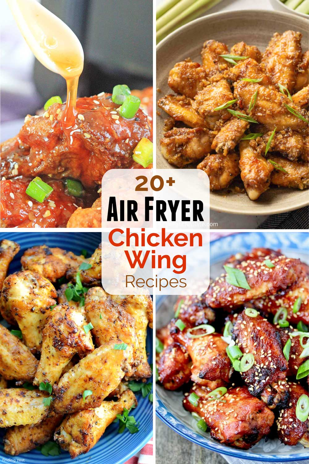 Collage of 4 of the air fryer chicken wings recipes included in this post, with text overlay of the title.