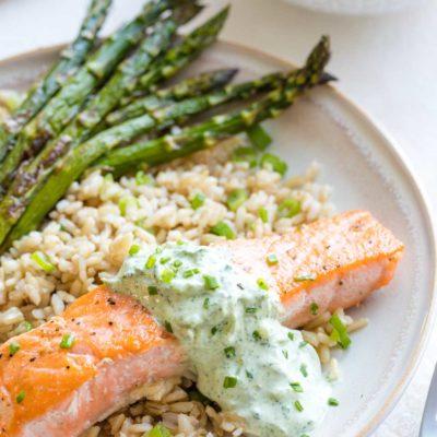 15-Minute Pan Seared Salmon with Basil Tzatziki