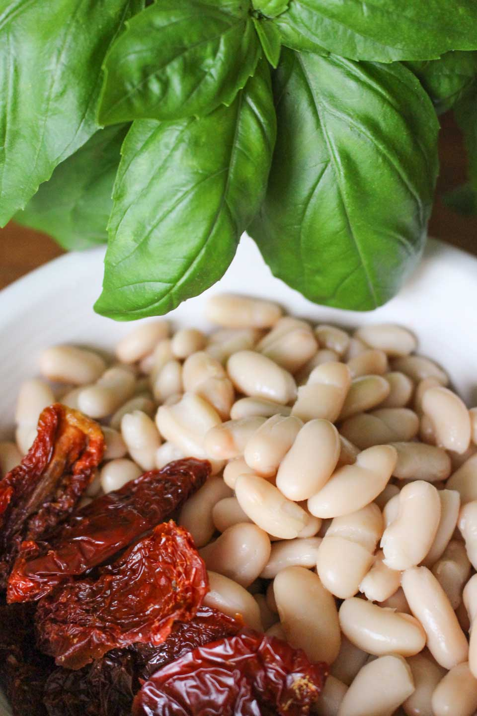 White beans, sun dried tomatoes, and basil in a white bowl.