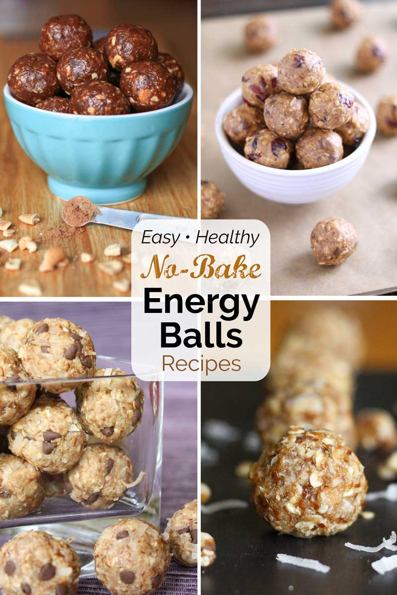 """Pinnable collage of four recipe photos with text overlay reading """"Easy • Healthy No-Bake Energy Balls Recipes""""."""