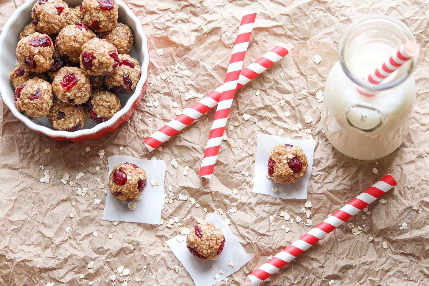 Overhead of 3 peanut butter balls on white paper squares, with milk in an old-fashioned bottle and a bowl of extra balls.