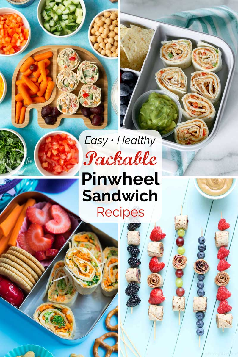 """Pin image of 4 roll ups with text overlay """"Easy • Healthy Packable Pinwheel Sandwich Recipes""""."""